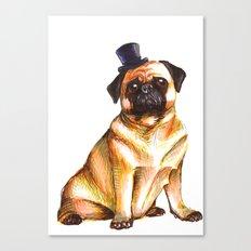 Fancy Top Hat Pug Canvas Print