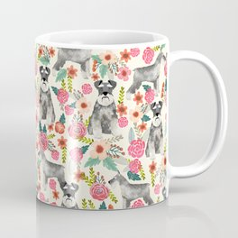 Schnauzer florals dog must have gifts for schnauzers pure breed Coffee Mug