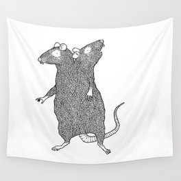 Two Headed Rat, I Love You Wall Tapestry