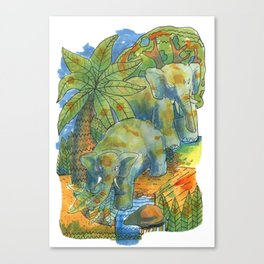elephants in africa Canvas Print