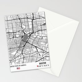 Houston, USA Road Map Art - Earth Tones Stationery Cards