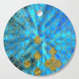 Blue Aqua Turquoise And Gold Glitter Mermaid Scales -Beautiful Mermaidscales Pattern Cutting Board