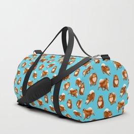 Pomeranian Pattern (Blue Background) Duffle Bag
