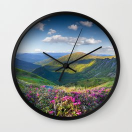Floral Mountain Landscape Wall Clock