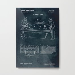 1973 - Air Hockey table patent art Metal Print