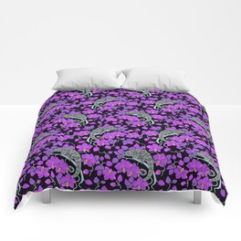 Chameleons and orchids (Gothic) Comforters