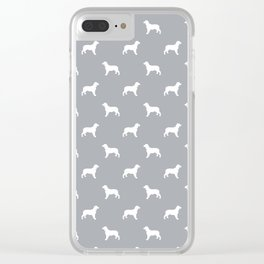English Springer Spaniel dog breed pet art dog silhouette unique dog breeds grey and white Clear iPhone Case