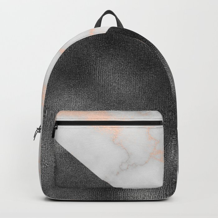 Rose gold marble and gunmetal grey storm Backpack