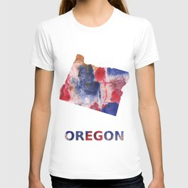 Oregon map outline Red blue brown watercolor painting T-shirt