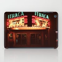 theater iPad Cases featuring Night Lights Ithaca Theater by David Hohmann