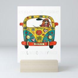On Dark Desert Highway Cool Wind In Hair Vans Car Girl Shirt Mini Art Print