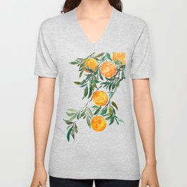 orange watercolor Unisex V-Neck