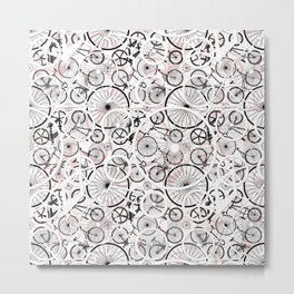 Bicycle Pattern Fun Metal Print