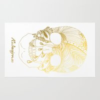 gold foil Area & Throw Rugs featuring Gold Foil Patterned Skull by RsDesigns