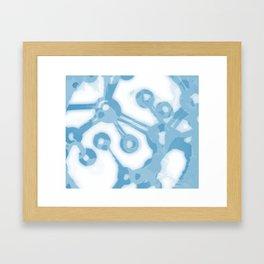 Cyan Molecules Framed Art Print