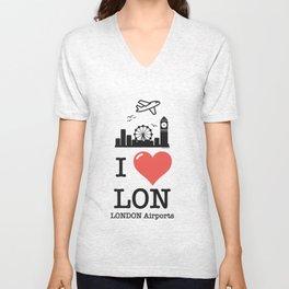I love/like LON airports Unisex V-Neck