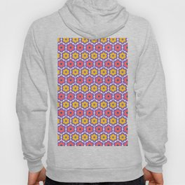 Coral red yellow daisy flower shapes. Vector pattern seamless damask background. Hoody