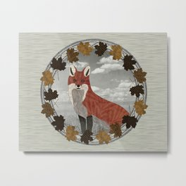 Red Fox Autumn Wreath Metal Print