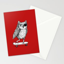 Ride On Owl_red Stationery Cards