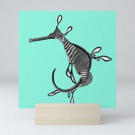 Turquoise weedy seadragon seahorse fish - ink illustration Mini Art Print