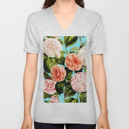 Vintage & Shabby Chic - Teal Floral Camellia  Flowers Watercolor Pattern Unisex V-Neck