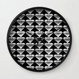Diamonds Pattern - Black and White and Grey Wall Clock
