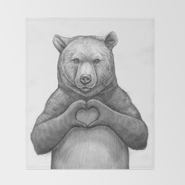 Bear with love Throw Blanket