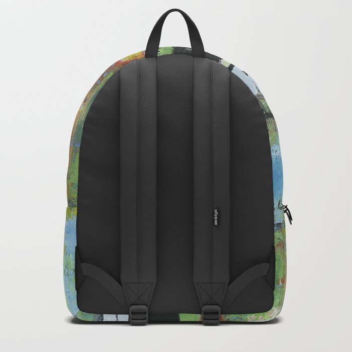 Salvation Green Abstract Contemporary Artwork Painting Backpack
