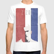 Zidane Minimal Portrait Mens Fitted Tee LARGE White