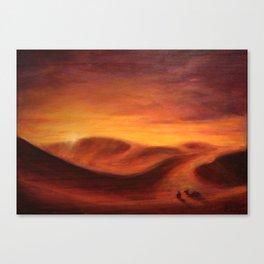Sunset in the dunes of Sahara desert Canvas Print