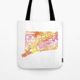 Typographic Connecticut - orange watercolor map Tote Bag