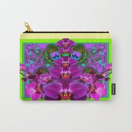 Fuchsia-Purple Orchids Green-Yellow Patterns Art  Carry-All Pouch