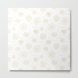 Blush chic elegant white faux gold glitter floral Metal Print