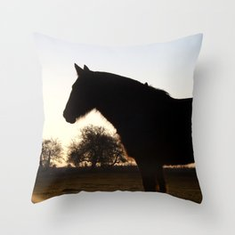 Backlit horse Throw Pillow