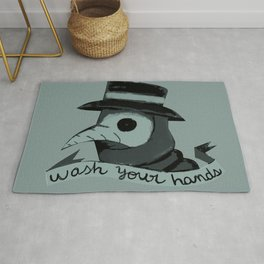 Plague doctor please wash your hands sign Rug