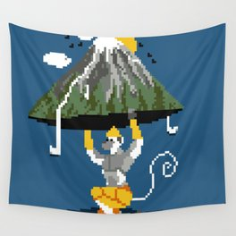 Hanuman Mountain Pixel Art Wall Tapestry
