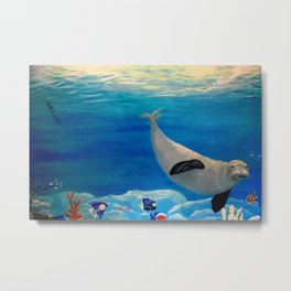 Sea Lion Swimming in Ocean Metal Print