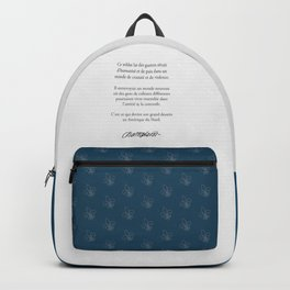 Samuel de Champlain Quebec Signature and french quote Backpack