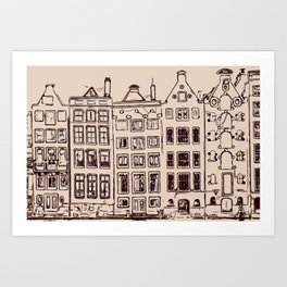 Canal house in Amsterdam, The Netherlands Art Print