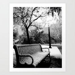 Park Bench (Black & White) Art Print