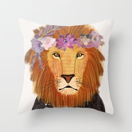 Lion with flowers on head Throw Pillow