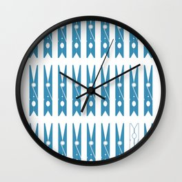 Clothespins poster Wall Clock