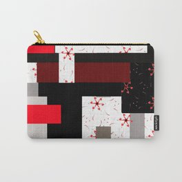 red grey black white floral geometric digital art Carry-All Pouch