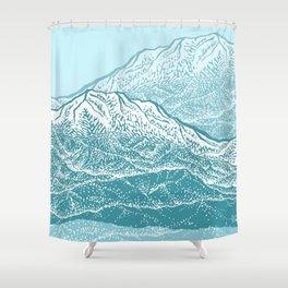 Distant Snow- 遠雪 : linocut Shower Curtain
