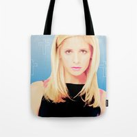buffy the vampire slayer Tote Bags featuring Buffy the Vampire Slayer, Cross by Your Friend Elle