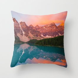 Aerial Photography of Mountain Landscape With Lake at Sunset Throw Pillow