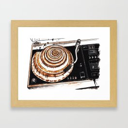 Vinyl record player with seashell Framed Art Print
