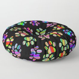 Striped Puppy Paw Print Floor Pillow