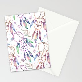 Watercolor Boho Dream Catcher Pattern Stationery Cards