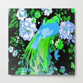 Flower and Peacock Garden Metal Print